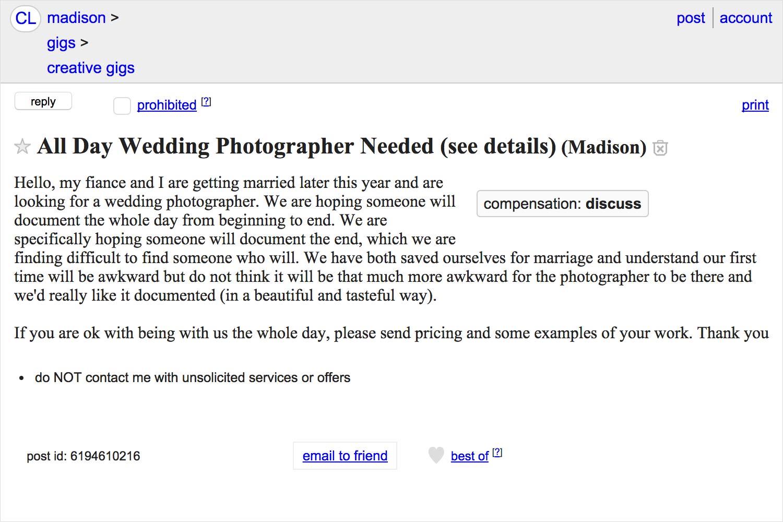 Craigslist wedding photographer