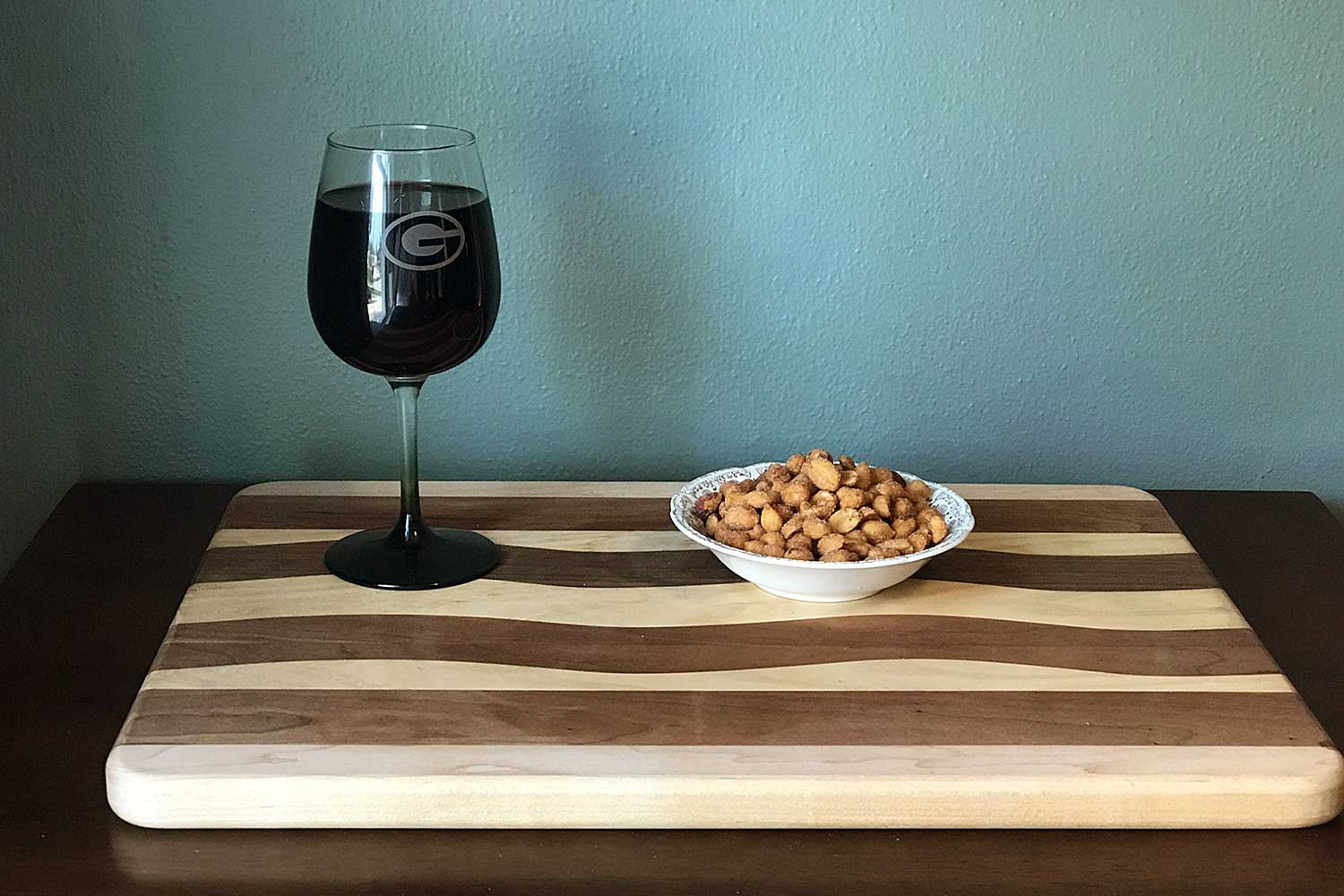 Ice Bowl wine and peanuts