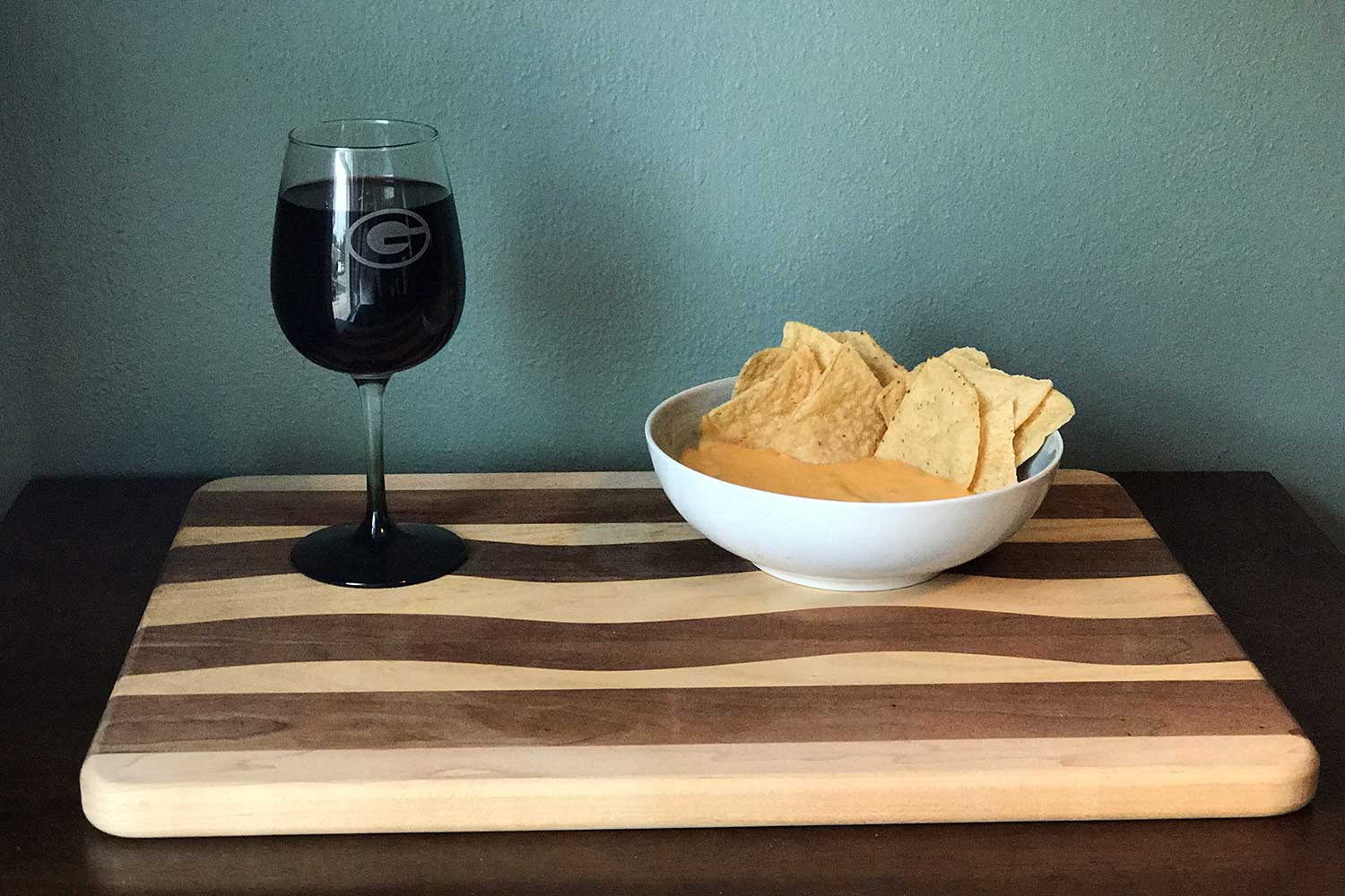 Ice Bowl wine and queso