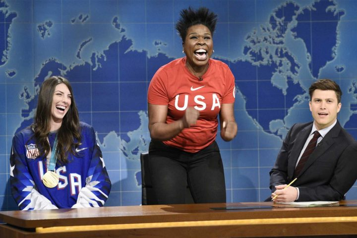 Olympic gold medalists, including former Badgers, visit NBC late night