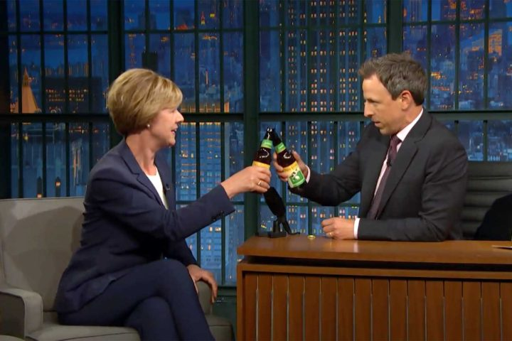 Tammy Baldwin shares Spotted Cow with Seth Meyers