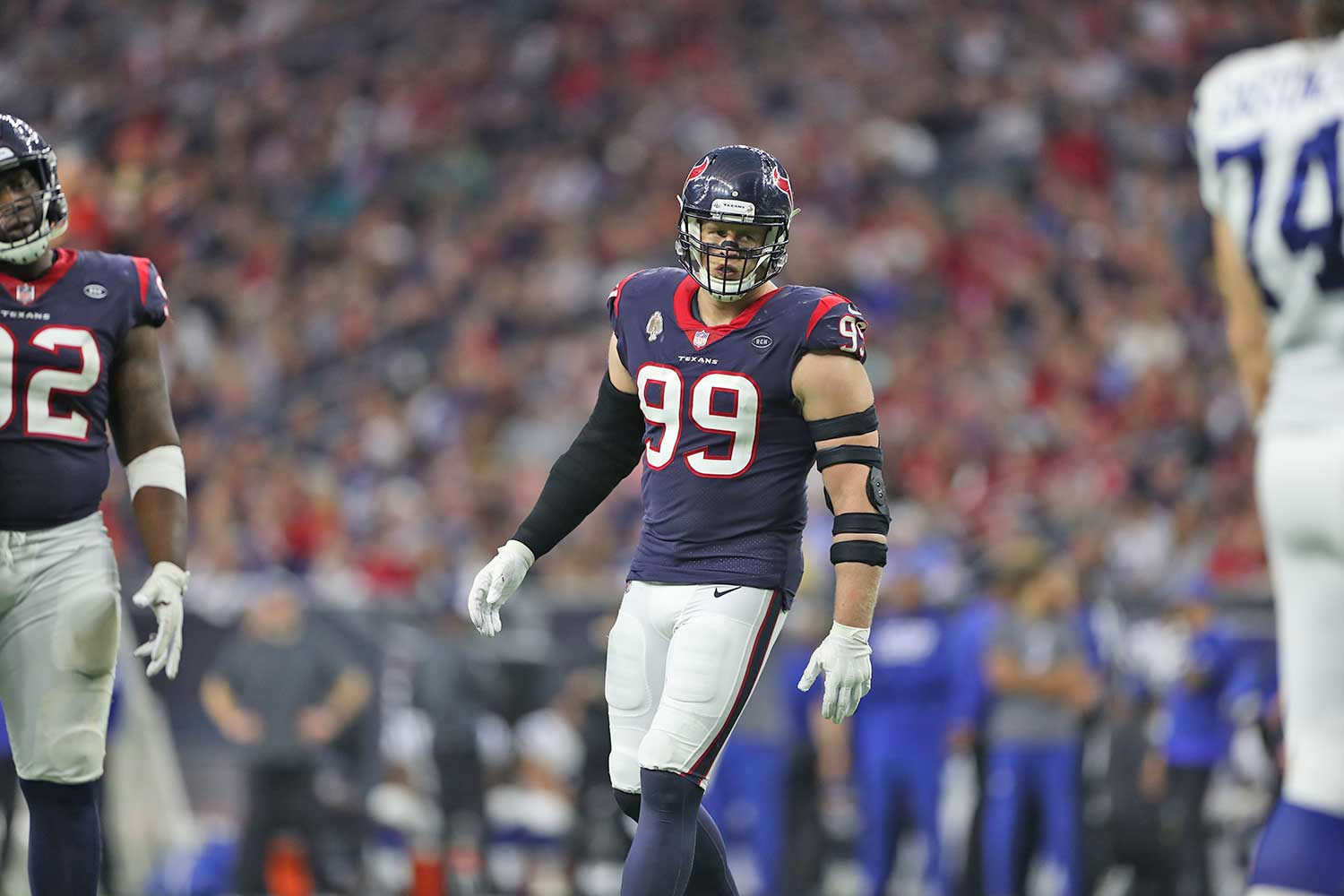 J.J. Watt playing for Houston Texans
