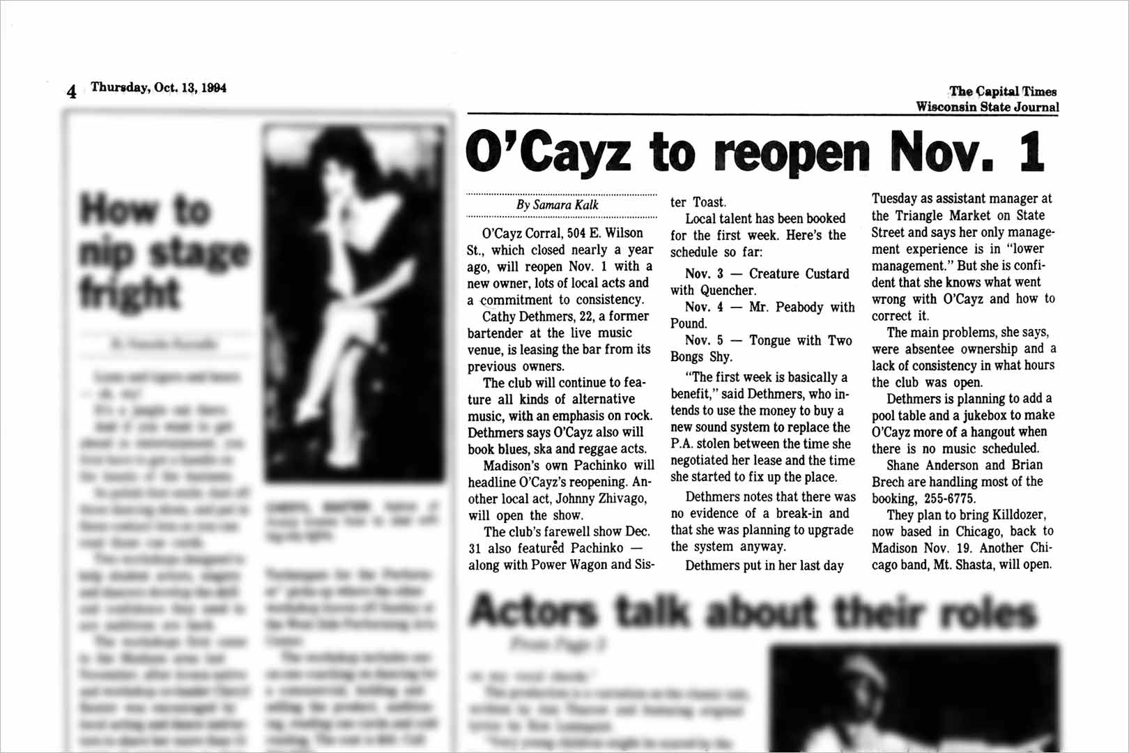 O'Cayz to reopen Nov. 1