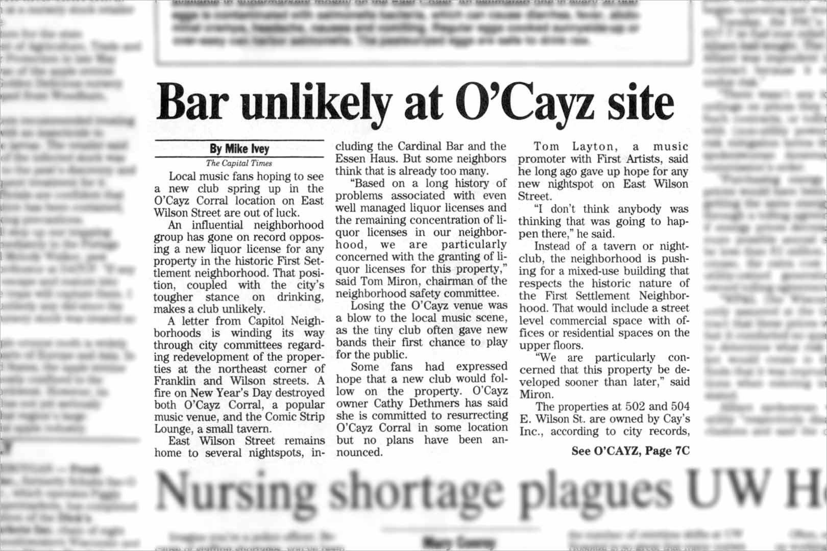 Bar unlikely at O'Cayz site