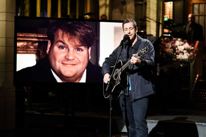 "Adam Sandler pays tribute to Chris Farley on ""SNL"""