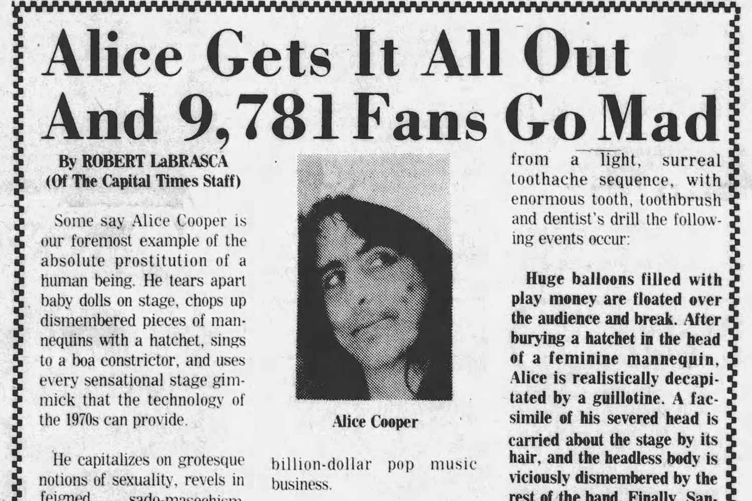 Cap Times review of Alice Cooper