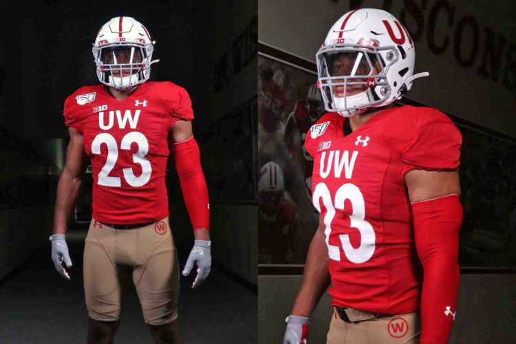 The Badgers have new throwback uniforms. The pants are brown.