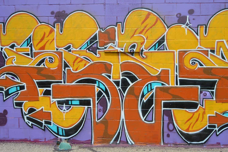 Purple and orange mural