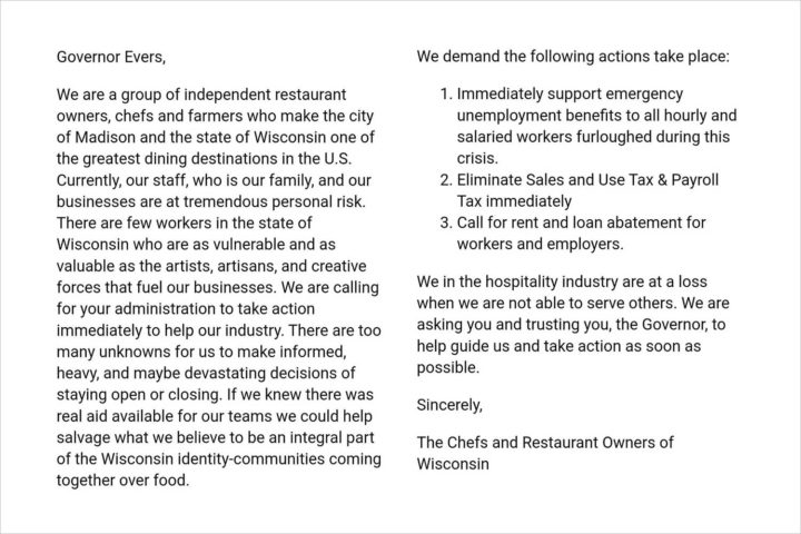 "Restaurants in letter to Gov. Evers: ""Take action as soon as possible"""