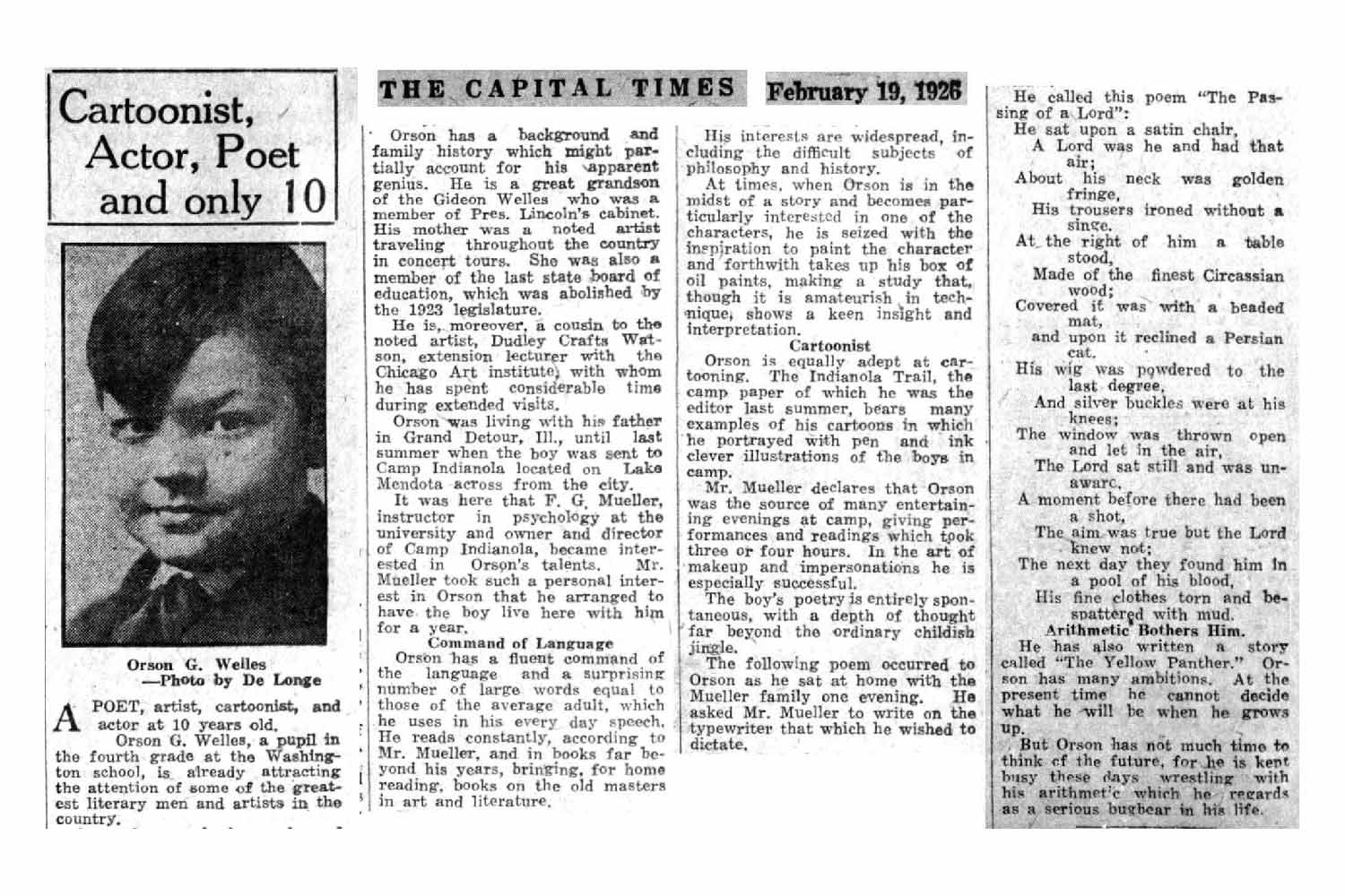 Orson Welles in The Capital Times in 1926