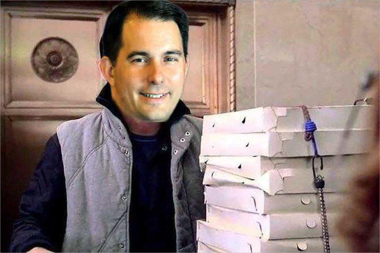Time-traveling Scott Walker eats pizza from 2019